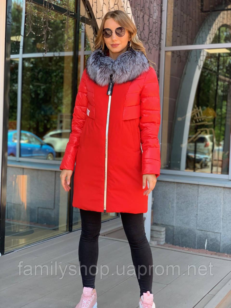 Зимнее женское пальто  с натуральным мехом чернобурки