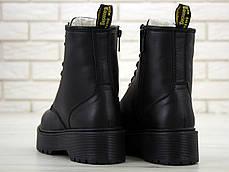 Женские ботинки Dr.Martens Black mono JADON кожа, ЗИМА черные. ТОП Реплика ААА класса., фото 2