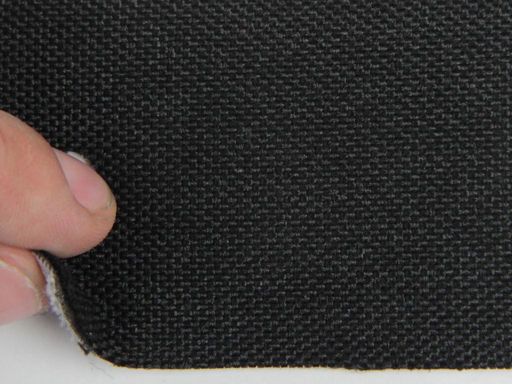 Ткань для сидений автомобиля, черный, на поролоне и сетке (для боковой части), толщина 2мм