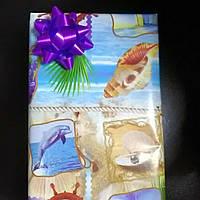Упаковка подарка коробочка морская тематика с сереневым бантом