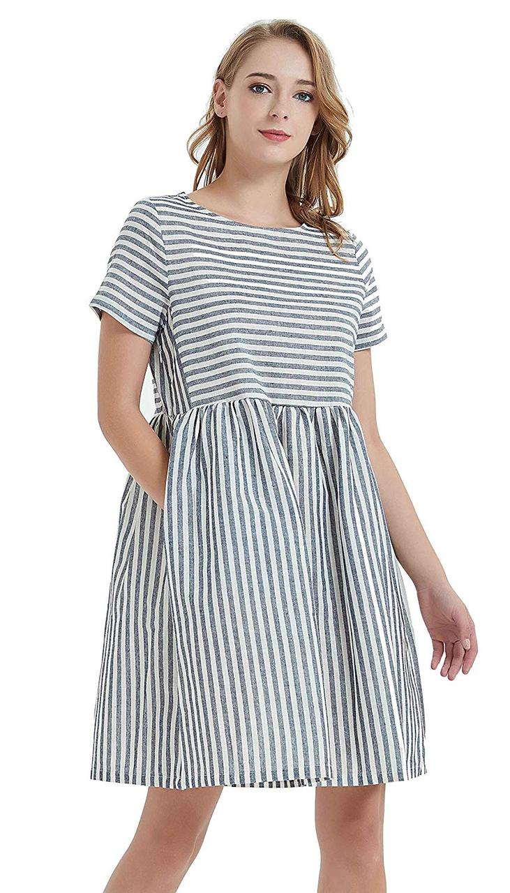 Женское льняное платье летнее полосатое свободного кроя