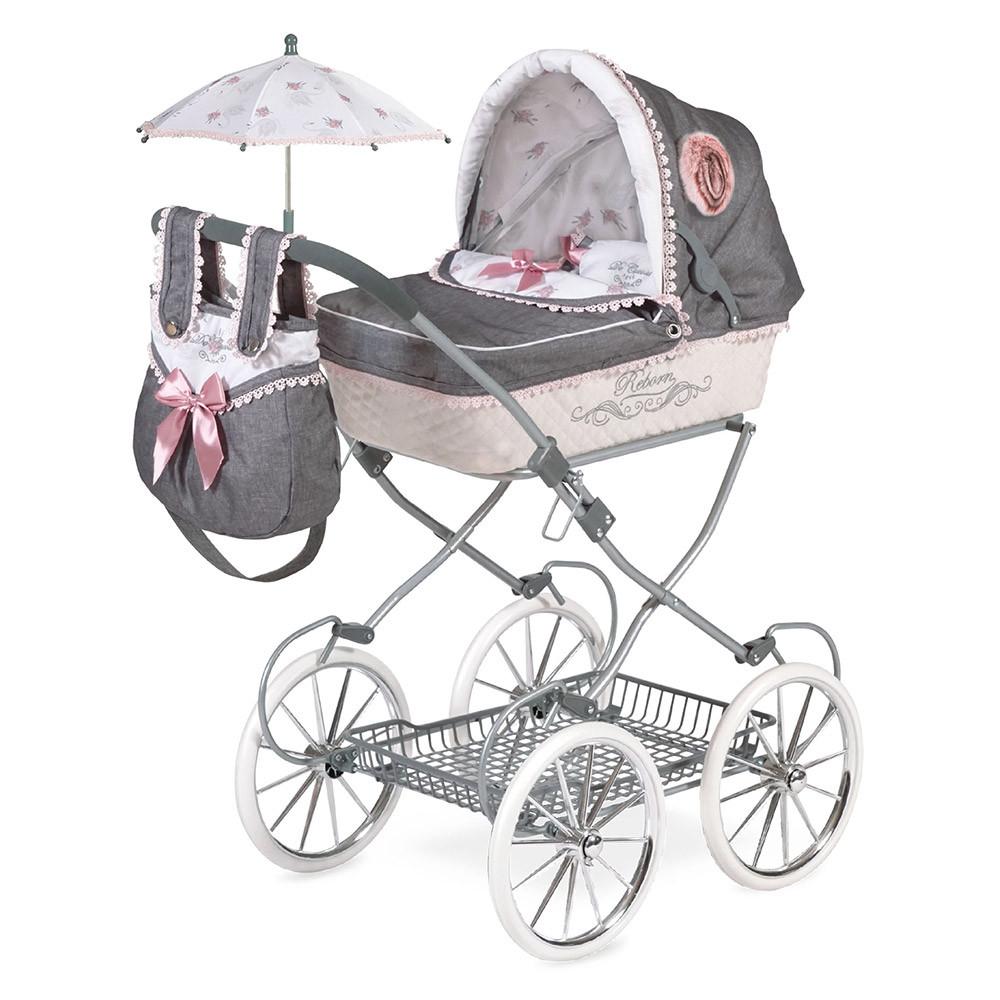 Лялькова коляска з сумкою і парасолькою 81см Реборн 81031,DeCuevas