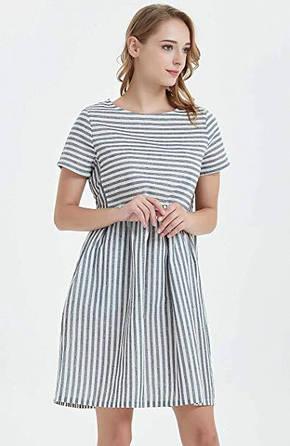 Женское льняное платье летнее полосатое свободного кроя, фото 2