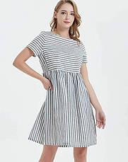 Женское льняное платье летнее полосатое свободного кроя, фото 3