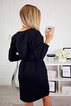 Черное прямое платье по колено в трех размерах S M L, фото 2
