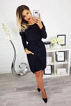 Черное прямое платье по колено в трех размерах S M L, фото 3
