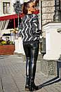 Свитер чёрный женский с полосками р.42-48, вязка, фото 5