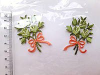 "Аплікація вишивка клейова парна ""Букет маленький""  салатовий, 5 см,1пара, аппликация клеевая"