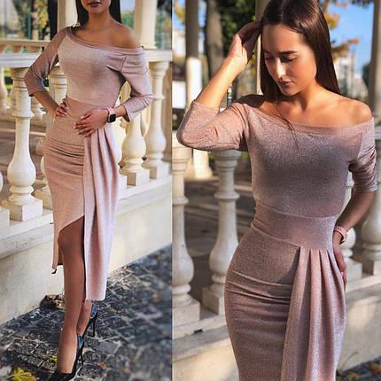 Вечернее платье с открытыми плечами приталенное Миди цвета пудры, фото 2