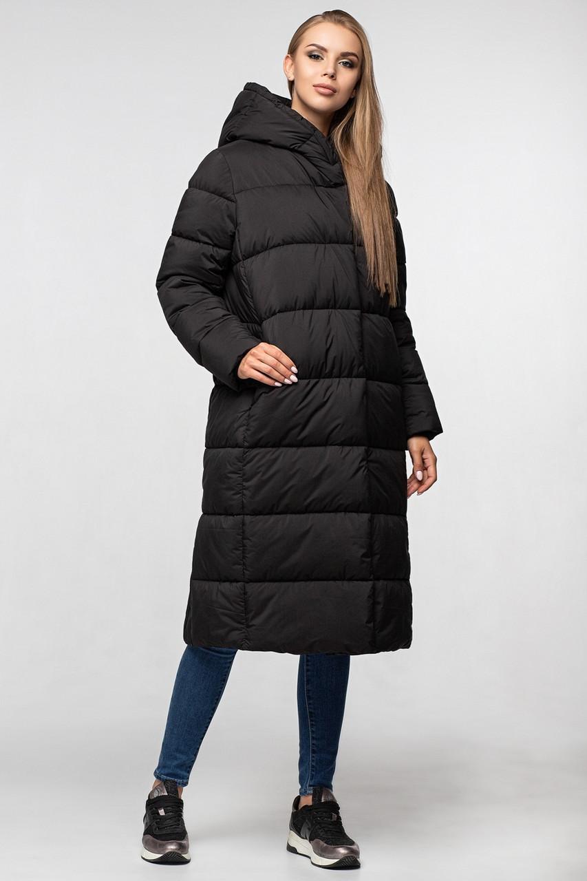 Стильное удлиненное пальто черного цвета KTL-355