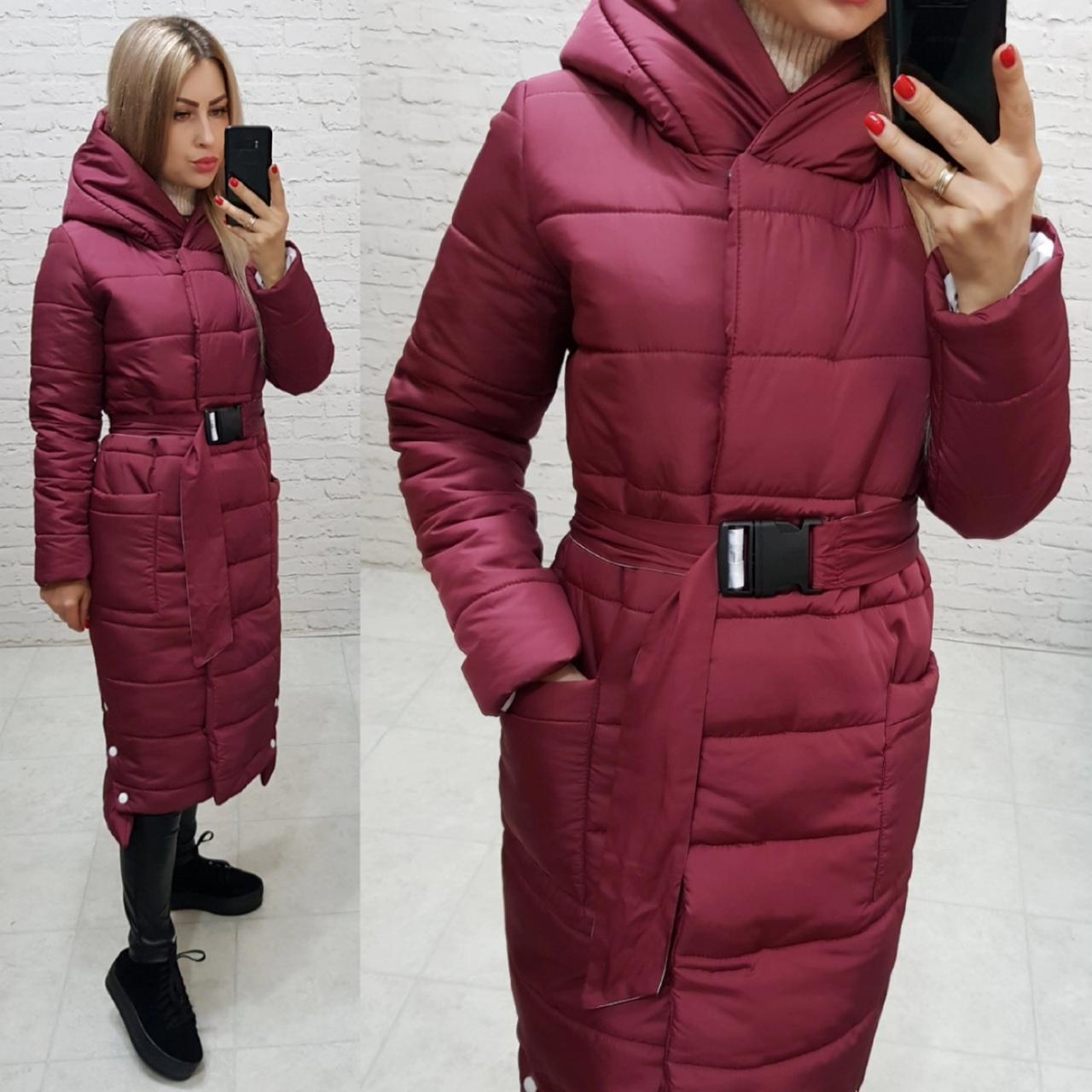 Зимнее тёплое пальто с поясом и капюшоном, артикул 032, цвет марсала