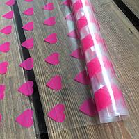 "Пленка прозрачная ""Сердечки"" для упаковки цветов и подарков в рулоне 0,7 х 2 м, толщина 30 мкм ТМ «LOVE & HOME"