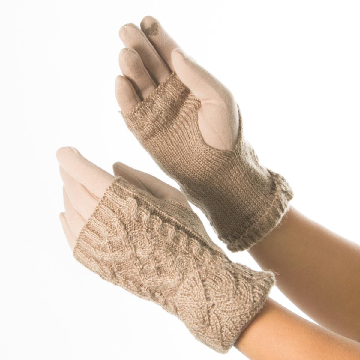 Текстильные женские перчатки c вязаной митенкой № 19-1-56-1 коричневый S