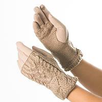 Текстильные женские перчатки c вязаной митенкой № 19-1-56-1 коричневый S, фото 1