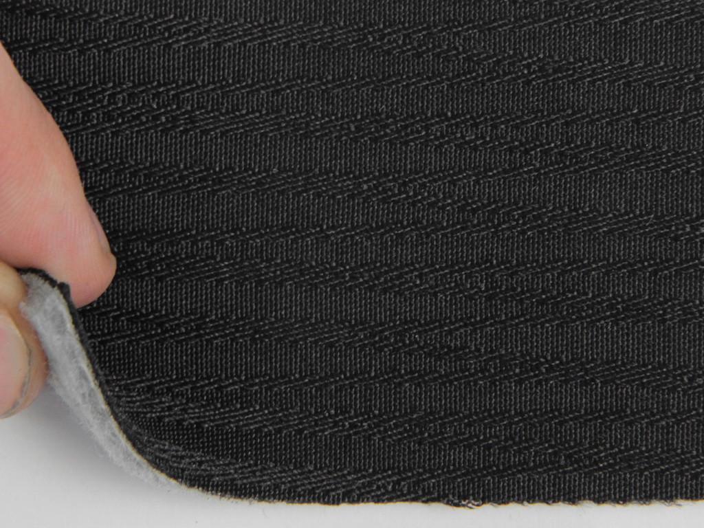 Тканина для сидінь автомобіля, колір чорний, на поролоні та повсті (для центральної частини) товщина 3мм