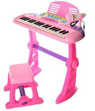 Синтезатор Bambi BO-21A стул, микрофон, запись, МР3 розовый А