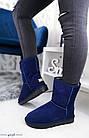 Женские угги синего цвета, натуральная замша, фото 5