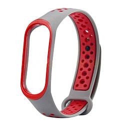 Оригінальний ремінець для фітнес-браслета Xiaomi Mi Band 3/ Mi Band 4, Sport Grey/Red