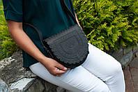 """Кожаная женская сумка, чёрная сумка ручной работы, сумка через плечо """"Тобивка"""""""