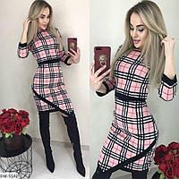 Трикотажное стильное платье в клетку арт 7098