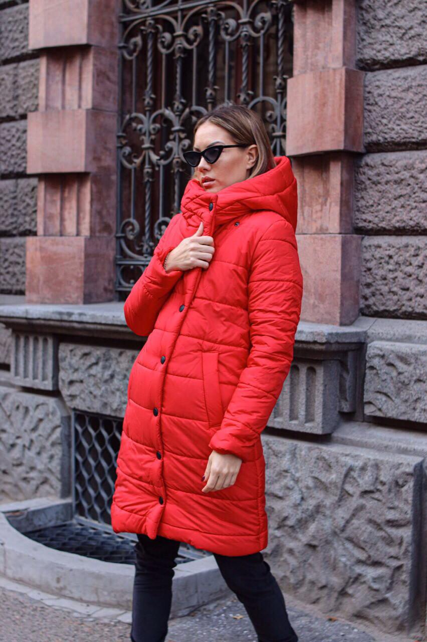 Куртка женская осень - зима красная чёрная
