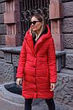 Куртка женская осень - зима красная чёрная, фото 6