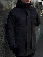 Парка мужская + перчатки в ПОДАРОК зимняя до -25°С черная | куртка мужская зимняя