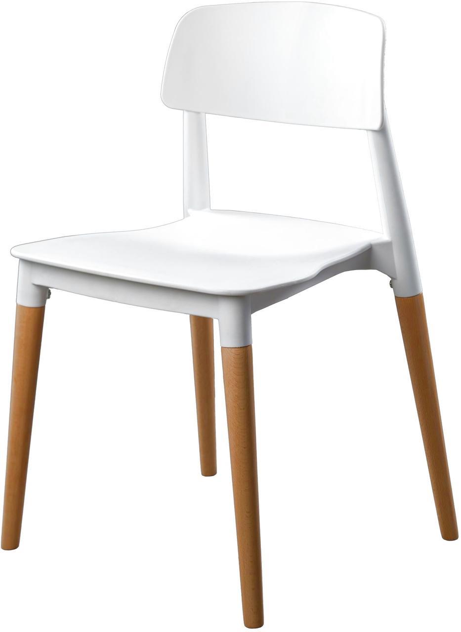 Штабелируемый стул SQUARE (Сквеар) белый пластик + дерево от Concepto