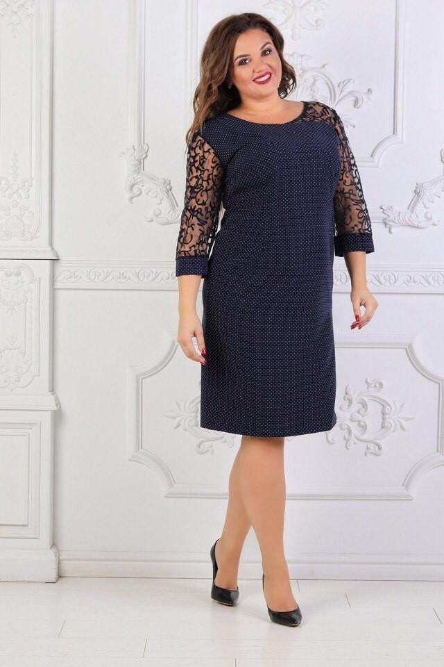"""Стильное женское платье с кружевом """"ткань Креп-Дайвинг"""" 52, 54 размер батал"""