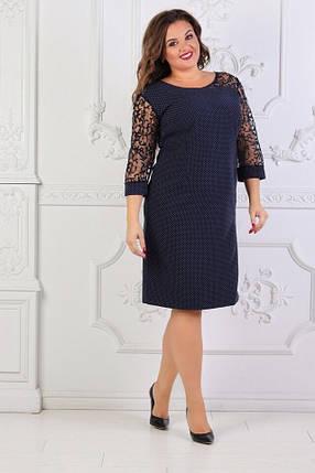 """Стильное женское платье с кружевом """"ткань Креп-Дайвинг"""" 52, 54 размер батал, фото 2"""