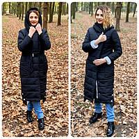 Зимове пальто з поясом, артикул 032, колір чорний з білим, фото 1