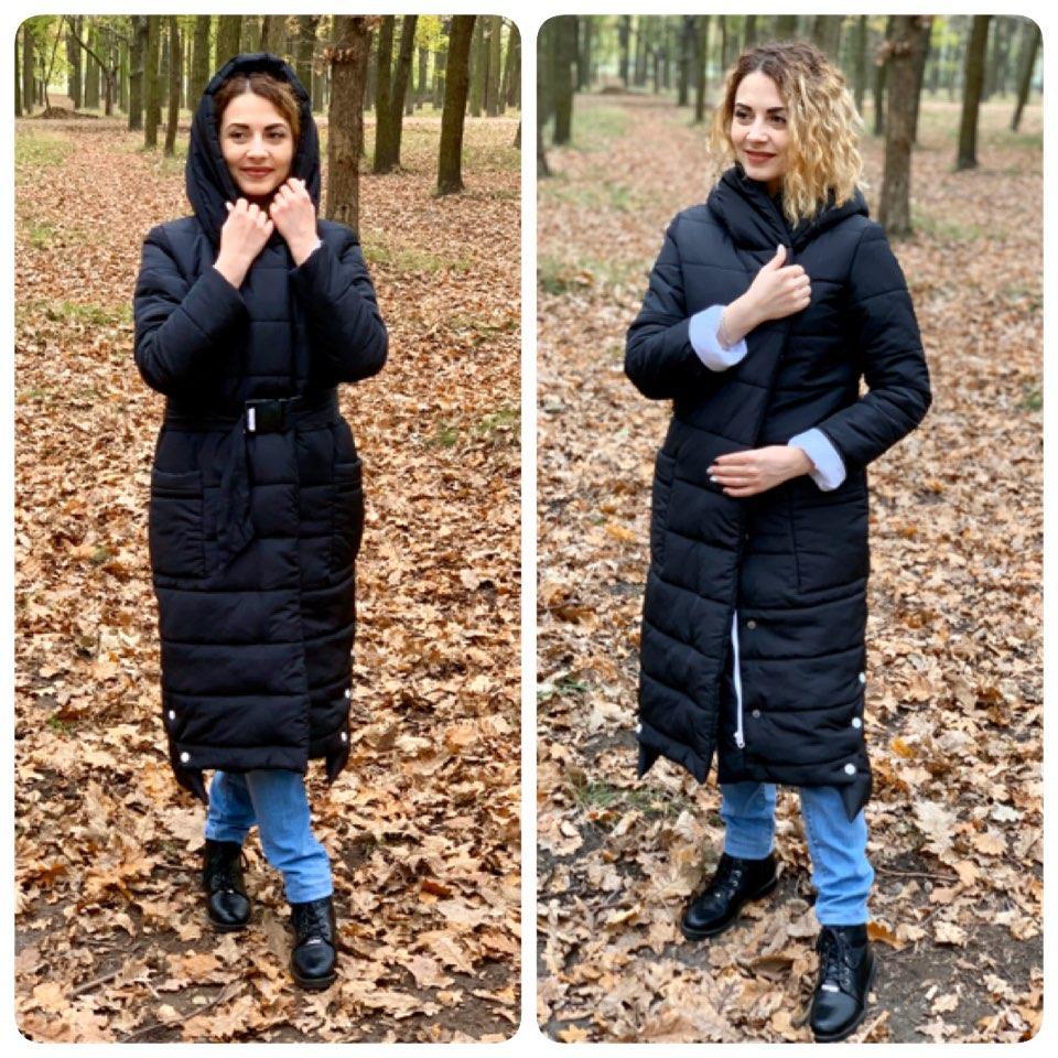 Зимове пальто з поясом, артикул 032, колір чорний з білим