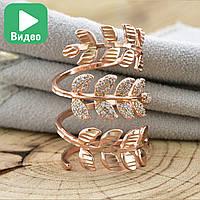 Кольцо на фалангу 12706, размер 18, ширина 33 мм, куб.цирконий, вес 6.4 г, позолота РО