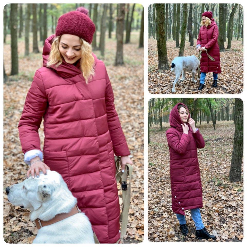 Зимовий приталене пальто до Oversize з поясом, артикул 032, колір марсала