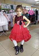 Детское нарядное платье с удлиненной юбкой сзади, цвет красный, фото 1
