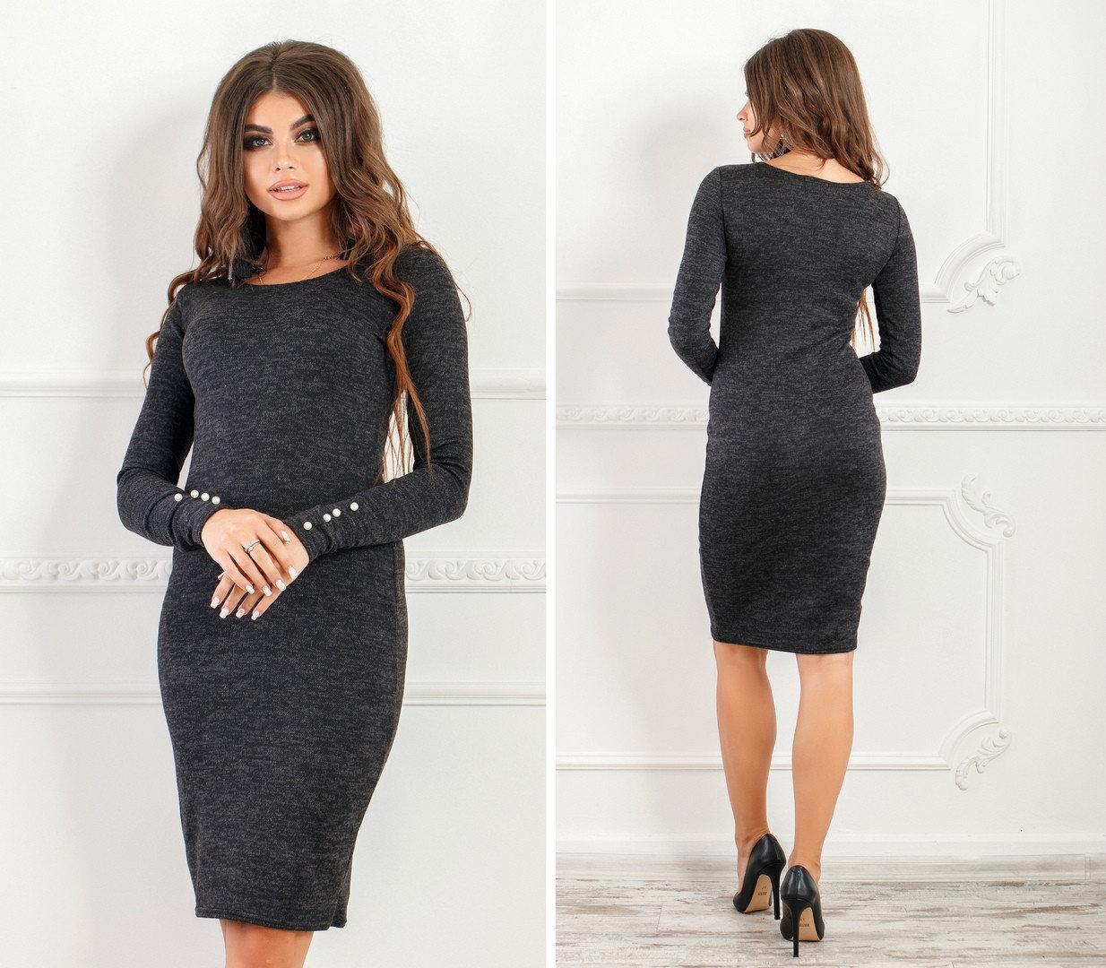 Офісне теплу сукню по фігурі до колін з довгими рукавами меланж чорне