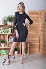 Облягаюче ошатне тепле ангоровое сукню до колін з гудзиками на рукавах хакі меланж, фото 3