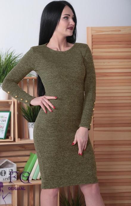 Облягаюче ошатне тепле ангоровое сукню до колін з гудзиками на рукавах хакі меланж