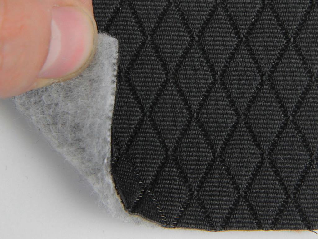Ткань для сидений автомобиля, цвет черный, на поролоне и войлоке(для центральной части) толщина 3мм