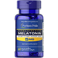 Мелатонин Puritan's Pride Extra Strength Melatonin 5 мг (60 софтгелей), фото 1