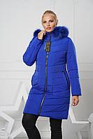 Длинная зимняя женская куртка мех песец р.44-58