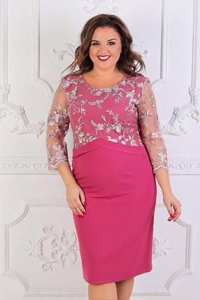 Изысканное женское платье ткань *Костюмная+вышивка* 58 размер батал, фото 2