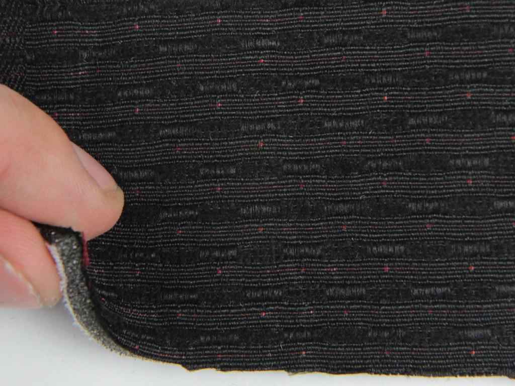 Ткань для сидений автомобиля, цвет черный, на поролоне и сетке (для центральной части) толщина 4мм