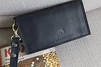 Мужской клатч кошелёк из натуральной кожи ручная работа чёрный