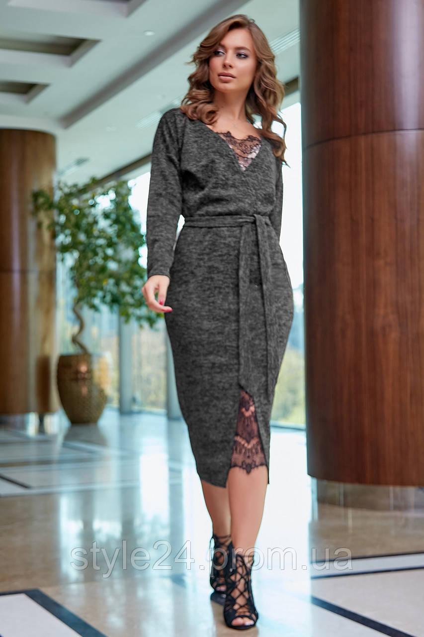 Шикарне тепле жіноче плаття з гіпюровими вставками ,5 кольорів.Р-ри 42-52