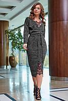 Шикарне тепле жіноче плаття з гіпюровими вставками ,5 кольорів.Р-ри 42-52, фото 1