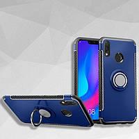Чехол для Huawei P20 Lite, бампер с кольцом - подставкой магнитной пластиной, цвет темно-синий