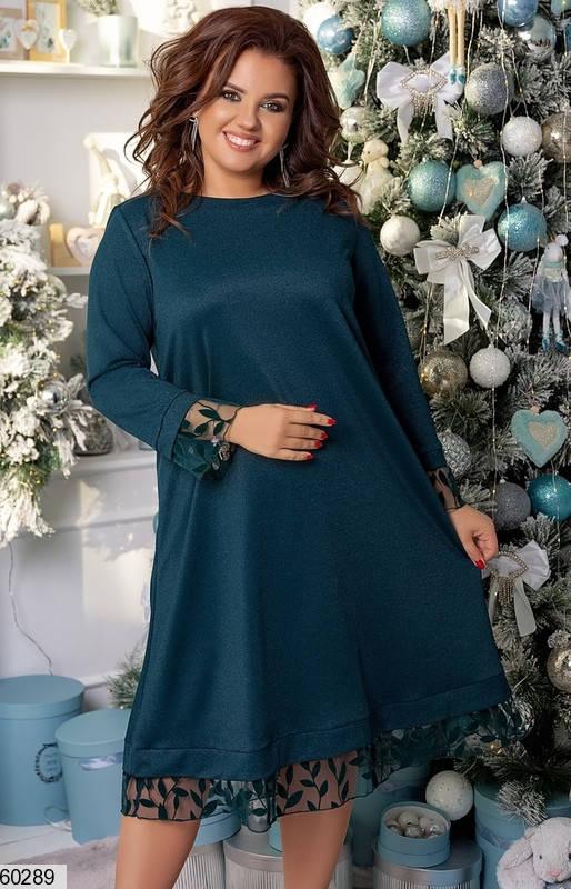 Зеленое нарядное платье трапеция больших размеров, фото 2