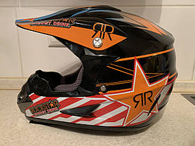 Черно-оранжевый Кроссовый мото шлем Rockstar (эндуро, даунхил), фото 2