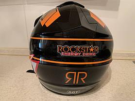 Черно-оранжевый Кроссовый мото шлем Rockstar (эндуро, даунхил), фото 3